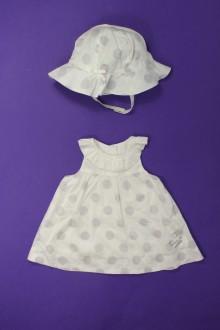 Habit de bébé d'occasion Robe à pois et chapeau Marèse 3 mois Marèse