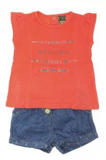 Habit de bébé d'occasion Ensemble short en jean et tee-shirt Tape à l'œil 9 mois Tape à l'œil