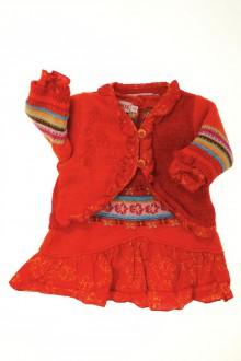 Habits pour bébé occasion Ensemble robe bi-matière et gilet Clayeux 3 mois Clayeux