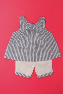 Habits pour bébé occasion Ensemble pantalon et blouse Cyrillus 9 mois Cyrillus