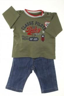 Habit de bébé d'occasion Ensemble jean et tee-shirt Natalys 1 mois Natalys