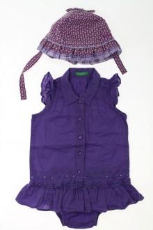 vêtements bébés Ensemble robe, culotte et chapeau Benetton 6 mois Benetton