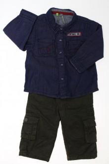 Habit de bébé d'occasion Ensemble pantalon et chemise en jean Orchestra 9 mois Orchestra