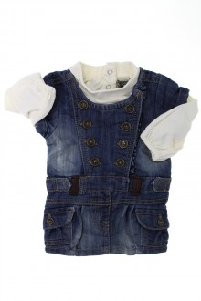 habits bébé Ensemble robe en jean et sous-pull Tape à l'œil 3 mois Tape à l'œil