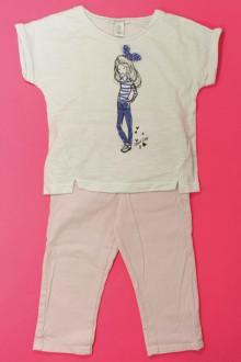 vetements enfants d occasion Ensemble pantalon en toile et tee-shirt Okaïdi 4 ans Okaïdi