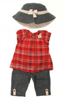Habits pour bébé Ensemble jean, blouse et chapeau Vertbaudet 3 mois Vertbaudet