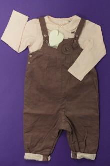 Habit d'occasion pour bébé Ensemble salopette et tee-shirt - NEUF Marèse 12 mois Marèse