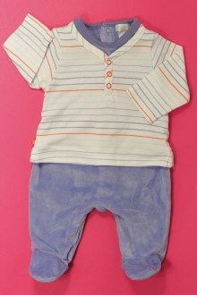 vêtements bébés Pyjama/Dors-bien rayé en velours Obaïbi 3 mois Obaïbi