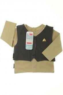 vetements d occasion bébé Ensemble tee-shirt et gilet - NEUF Sucre d'Orge 9 mois Sucre d'Orge