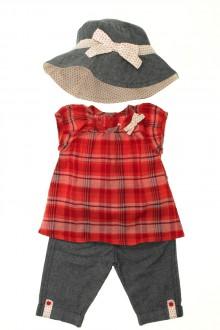 vêtements bébés Ensemble pantalon, blouse et chapeau Vertbaudet 3 mois Vertbaudet