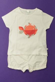 Habit d'occasion pour bébé Ensemble short et tee-shirt Obaïbi 18 mois Obaïbi