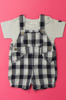 vetements d occasion bébé Ensemble salopette courte et tee-shirt Absorba 3 mois Absorba
