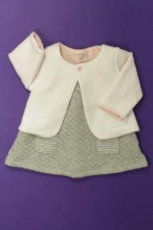 Habits pour bébé Ensemble molletonné robe et gilet Obaïbi 3 mois Obaïbi
