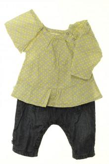 vêtements bébés Ensemble salopette et blouse Obaïbi 1 mois Obaïbi