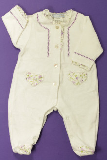 Habit de bébé d'occasion Pyjama/Dors-bien en velours fleuri Natalys 1 mois Natalys