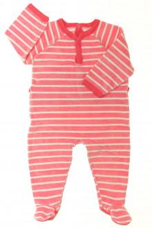 Habits pour bébé occasion Pyjama/Dors-bien rayé en velours Petit Bateau 12 mois Petit Bateau