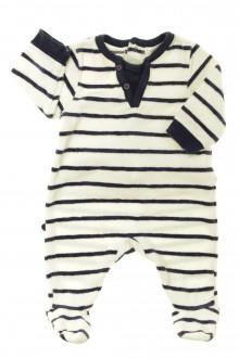 Habit d'occasion pour bébé Pyjama/Dors-bien rayé en velours Obaïbi 1 mois Obaïbi