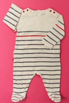 habits bébé Pyjama/Dors-bien rayé en velours Obaïbi 6 mois Obaïbi