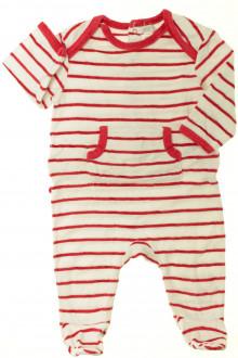 Habits pour bébé occasion Pyjama/Dors-bien rayé en velours Obaïbi 6 mois Obaïbi