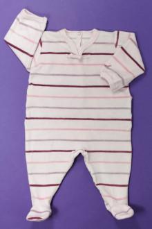 Habit de bébé d'occasion Pyjama/Dors-bien rayé en velours Petit Bateau 3 mois Petit Bateau