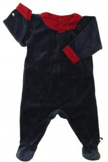 habits bébé Pyjama/Dors-bien en velours à pois Sergent Major 6 mois Sergent Major