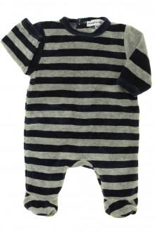 habits bébé Pyjama/Dors-bien rayé en velours DPAM Naissance DPAM