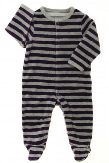 habits bébé Pyjama/Dors-bien rayé en velours Vertbaudet 6 mois Vertbaudet