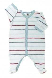 vetements d occasion bébé Pyjama/Dors-bien rayé en velours Petit Bateau 1 mois Petit Bateau