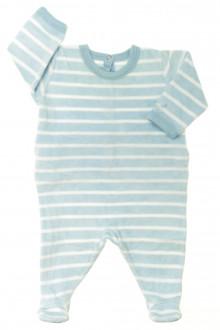 habits bébé Pyjama/Dors-bien rayé en velours Petit Bateau 1 mois Petit Bateau