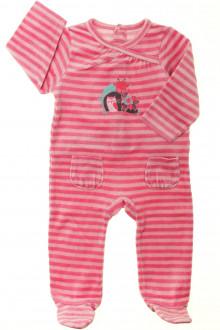 Habits pour bébé occasion Pyjama/Dors-bien rayé en velours  Vertbaudet 9 mois Vertbaudet