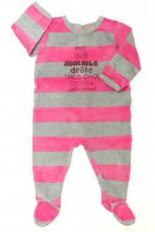 Habit de bébé d'occasion Pyjama/Dors-bien en velours à rayures Petit Bateau 9 mois Petit Bateau
