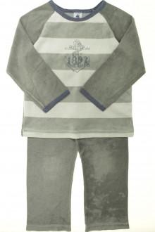 vetements enfants d occasion Pyjama/Dors-bien en velours à rayures Petit Bateau 5 ans Petit Bateau