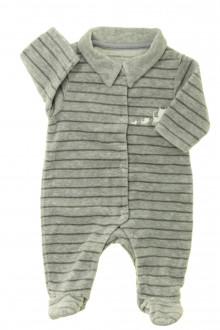 Habits pour bébé occasion Pyjama/Dors-bien rayé en velours Vertbaudet Naissance Vertbaudet