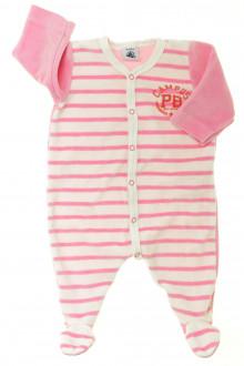 habits bébé occasion Pyjama/Dors-bien rayé en velours Petit Bateau 3 mois Petit Bateau