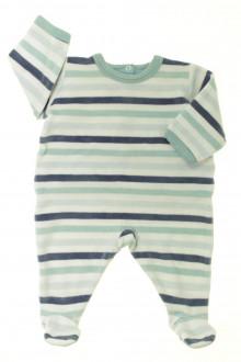 vetement bébé d occasion Pyjama/Dors-bien rayé en velours Petit Bateau 3 mois Petit Bateau