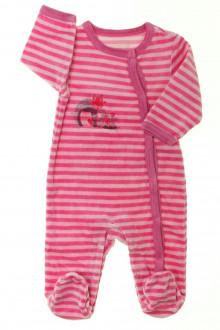 Habit d'occasion pour bébé Pyjama/Dors-bien rayé en velours Vertbaudet 3 mois Vertbaudet