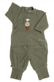 vetement bébé d occasion Ensemble pantalon doublé en velours fin et tee-shirt Obaïbi 3 mois Obaïbi