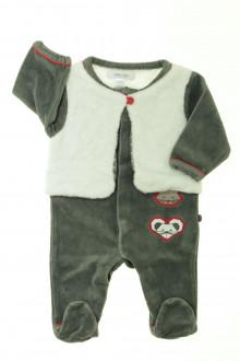 Habit d'occasion pour bébé Pyjama/Dors-bien en velours et gilet Obaïbi 1 mois Obaïbi