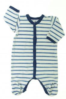 habits bébé occasion Pyjama/Dors-bien en velours rayé Petit Bateau 1 mois Petit Bateau