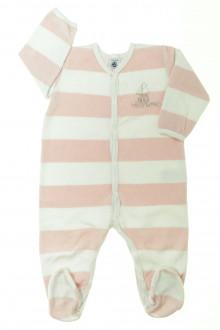 Habit de bébé d'occasion Pyjama/Dors-bien en velours à rayures Petit Bateau 12 mois Petit Bateau