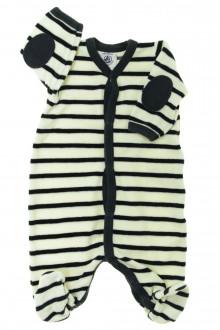 Habit de bébé d'occasion Pyjama/Dors-bien rayé en velours Petit Bateau Naissance Petit Bateau
