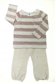 vetements enfants d occasion Pyjama en velours à rayures Petit Bateau 5 ans Petit Bateau