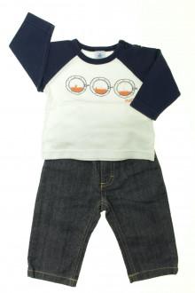 vetement bébé d occasion Ensemble jean et tee-shirt Petit Bateau 6 mois Petit Bateau