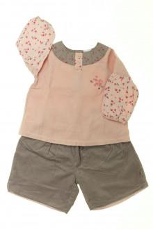 vetement bébé d occasion Ensemble blouse et jupe culotte P'tit Bisou 6 mois P'tit Bisou