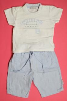 vetements d occasion bébé Ensemble pantalon en lin et tee-shirt Jean Bourget 1 mois Jean Bourget