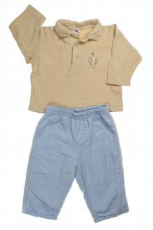 Ensemble pantalon doublé en polaire et polo d'occasion de la marque Absorba en taille 6 mois Absorba