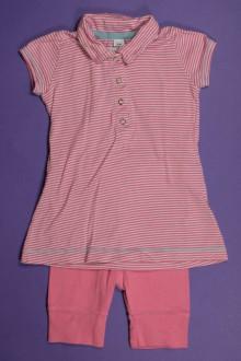 Habit de bébé d'occasion Ensemble robe de plage milleraies et legging Petit Bateau 3 mois Petit Bateau