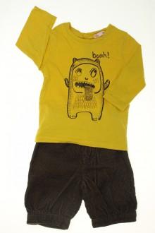 habits bébé Ensemble pantacourt en velours et tee-shirt Bout'Chou 6 mois Bout'Chou